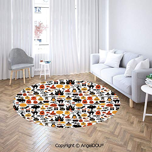 AngelDOU Bedroom Chair Rugs Non-Slip Door Round Mat Halloween Icons Collection Candies Owls Castles Ghosts October 31 Theme Decorative Toilet Bath Decorate Carpets.]()