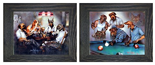 Framed Dogs Playing Pool Art (Dogs Playing Pool Dan And Dogs Playing Poker Cards Two Set Black Framed Funny Animal Wall Decor Art Print Poster (8x10))