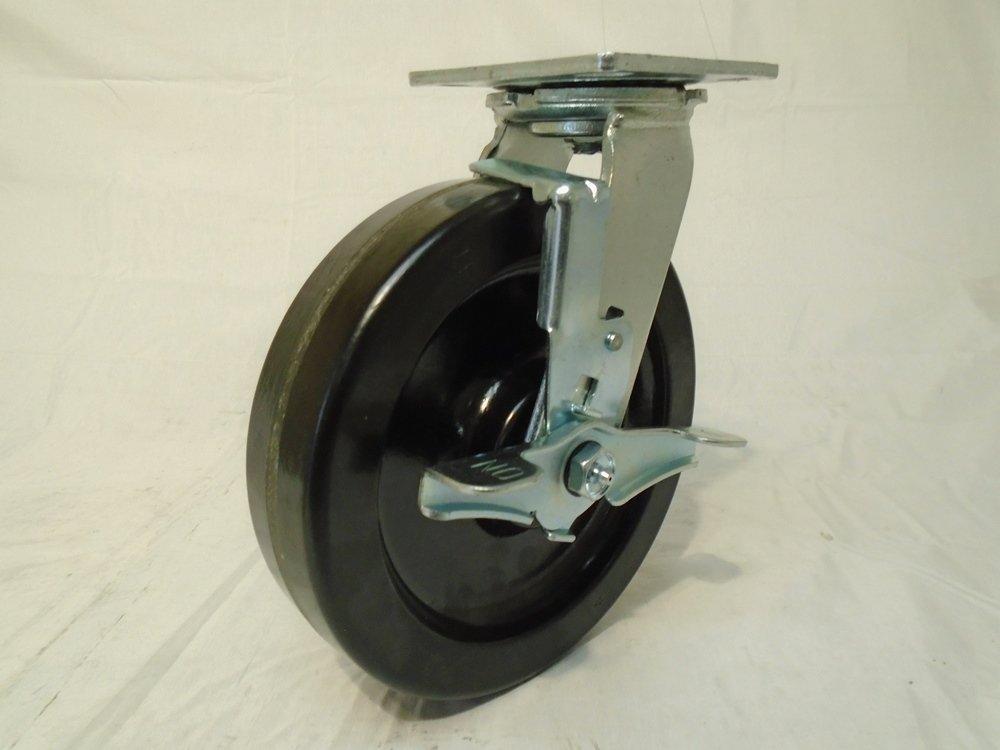 8'' X 2'' Swivel Caster Heavy Duty Phenolic Wheel with Brake 1400 Lbs Each Tool Box