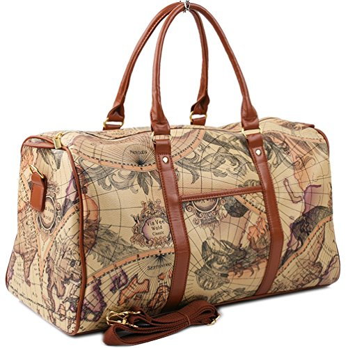 Copi World Map Large Duffle Bag Travel Tote Luggage Boston Style Beige - Style World Map