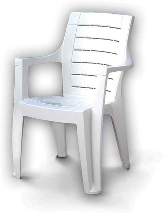 Silla sillón de resina apilable de jardín terraza Cleopatra blanco 002575: Amazon.es: Jardín