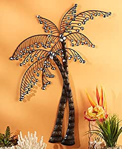 Palm Trees Tropical Caribbean Crystal Beaded Wall Artwork Plaque Wall Hanging Home Decor Accent Decor