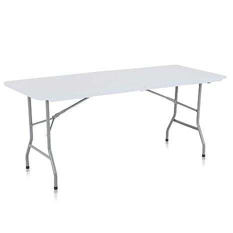 Strattore Table de Jardin Plastique Traiteur Pliante Table Buffet Picnic  Plateau Camping Pliable avec Poignée - 180 x 70 x 74 cm en Blanc Modèle 2018