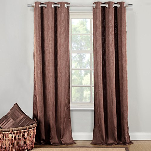 Silk Textured Wallpaper (Cotton Blend Textured Wave Grommet Top Window Curtain Pair Panel Insulated Drapes For Bedroom, Livingroom, Kid, Children, Nursery - Assorted Color - 38 by 84 Inch, Set of 2 Panels - Brown)