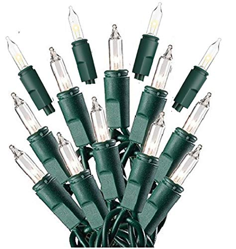 (Prextex 100-Count Clear Green Wire Christmas Light Set Christmas)