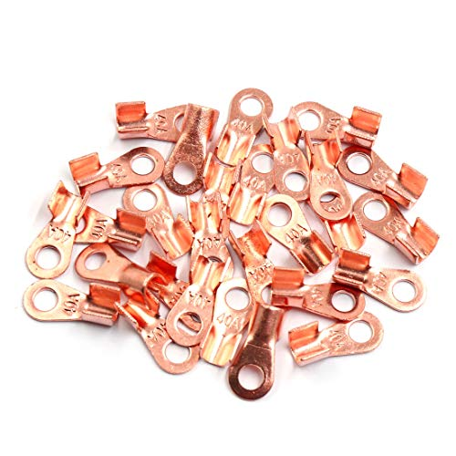 Sourcingmap 30pcs 40A Copper Ring Terminals Lug Battery Cable Connector: