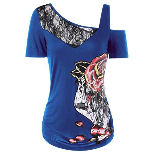 Wintialy Women's Fashion Summer Short Sleeve Skew Collar Lace Patchwork Rose Print T-Shirt (Secret Embrace Bra)