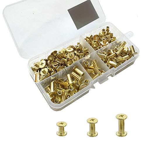 YMAISS 90 Sets Chicago Screws 3 Size 1/4,3/8,1/2in Brass Plated Screw Posts Bookbinding Posts Binding Screw Chicago Button Post Rivets Screw Belt Screws Leather Photo Albums Screw Phillip Head,Gold (Plated Brass Wide)