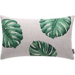 "TRENDIN 20"" X 12"" Vintage Green Palm Leaf Leaves Linen Throw Waist Pillow Case Cushion Cover (PL086TR)"
