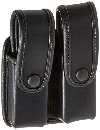 Uncle Mike's Mirage Plain Double Stack Duty Double Pistol Mag Case, Black (Case Mirage Plain)