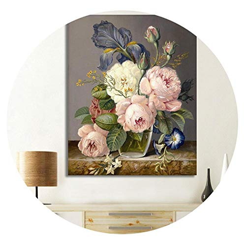 Digital Elegant Flower Painting by Numbers DIY Wall Oil Painting Coloring Cuadros Decoracion Pictures Acrylic Canvas Art,40x50cm No Frame