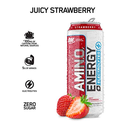OPTIMUM NUTRITION ESSENTIAL AMINO ENERGY Plus Electrolytes Sparkling Hydration Drink, Juicy Strawberry, Keto Friendly BCAAs, 12 Count (Receive The Optimum)