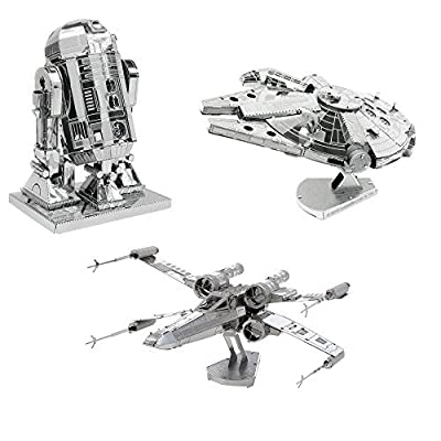 fascinations Metal Earth 3D Model Kits Star Wars Set of 3 Millennium Falcon - R2-D2 - X-Wing Starfighter: Toys & Games