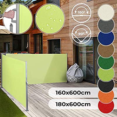Waterproof Privacy Screen Jago Double Retractable Side Awning UV Protection Different Colours and Sizes 160x600cm 180x600cm Sunshade Screen Panel Wind Protector Pull-Out Side Roller Blind