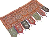 Handmade Doorway Topper India Decorative Embroidered Mirror Work Ethnic Valance ~ 44 Inch X 24 Inch