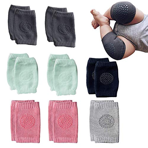NEPAK 8 Pairs Baby Crawling Anti-Slip Knee Baby Knee Pads For Crawling and safety Walking Anti Slip,Unisex Baby Toddlers Kneepads,Learn to Socks Children Short Kneepads