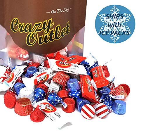 CrazyOutlet Patriotic USA Flag Colors Hershey Chocolate Candy Mix - Kisses USA Flag, Kit Kat Miniatures, Reese's Peanut Butter Cup, Red Blue Rolo Chewy Caramel, Bulk Pack, 3Lbs ()