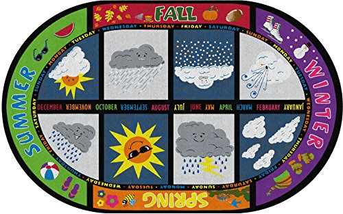 """Flagship Carpets FE132-33A Weather Today Rug, See Rain and Sunshine No Matter What's Going on Outside, Children's Classroom Educational Carpet, 5'10"""" x 8'4"""", 70"""" Length, 100"""" Width, Multi-Color"""