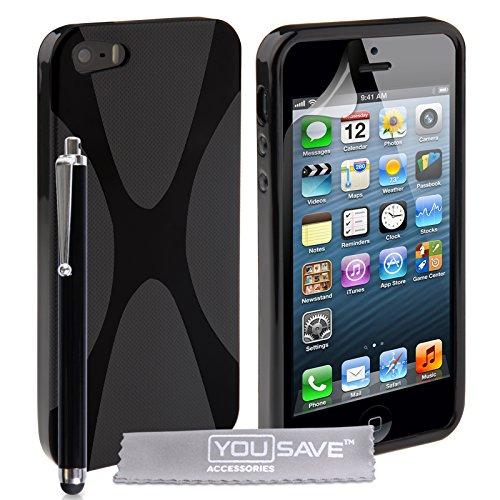 Cover iPhone 5 / 5S Custodia Silicone Gel X-Linea Nero Con Stilo Penna