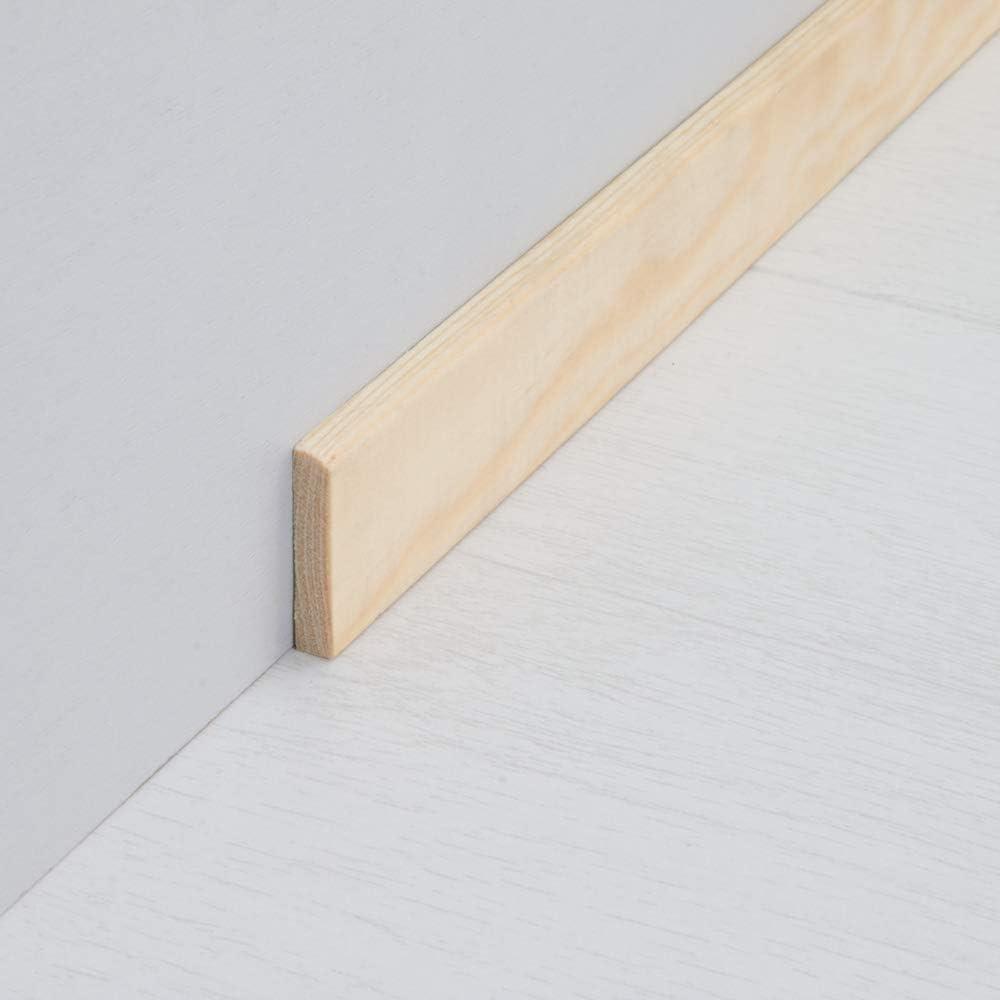 Abdeckleiste Abschlussleiste Sockelleiste Rundprofil aus unbehandeltem Kiefer-Massivholz 2400 x 5 x 28 mm