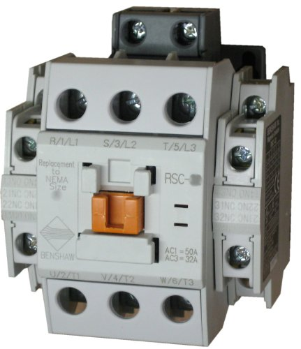Benshaw RSC-40-6AC120 3 pole, 40 AMP contactor with a 120 volt AC coil and 2 N.O. and 2 N.C. side mounted auxiliary