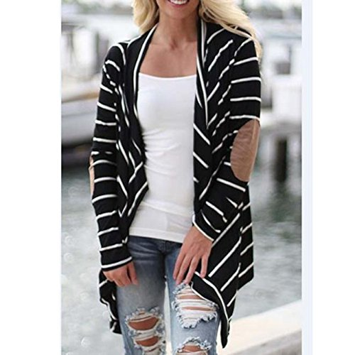 PERFURM Women Coat Casual Long Sleeve Large Size Tops Striped Cardigans Cotton Patchwork Clearance Thin Outwear by PERFURM (Image #1)
