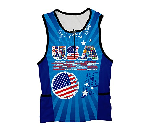 USA All State Flags Triathlon Top for Women