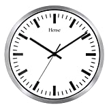 HENSE 12-inch Large Metal Frame Wall Clock Retro Vintage Style Decorative,Battery Operated Quartz Analog Silent Movement Wall Clock for Home Kitchen Decor, Non Ticking Timepiece HW02 (Silver)