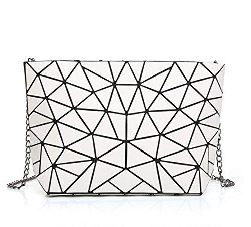 Flada Hologram Geometric Split Joint Plaid Chain Shoulder Bags For Women Hologram Silver White