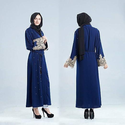 NPRADLA Large Falda Dubai Islámico Mujeres Open Kaftan Abaya musulmán Cardigan Jilbab Maxi Vestido de Ropa Partido Elegante Moda Armada L: Amazon.es: Ropa y ...