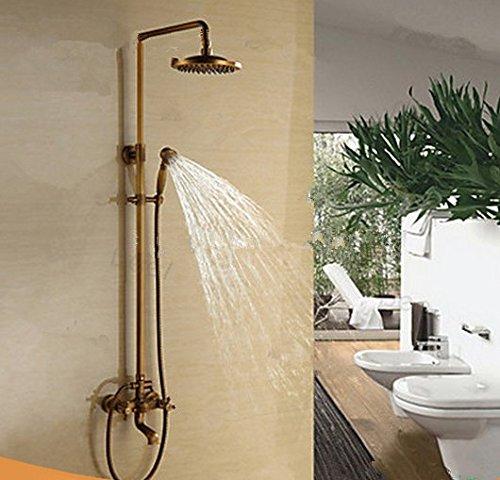 GOWE Antique Brass Bathroom Rain Faucet Shower Set Mixer Tap Top 8