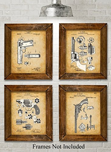 Original Colt Pistols Patent Art Prints - Set of Four Photos (8x10) Unframed - Great Gift for Gun Owners