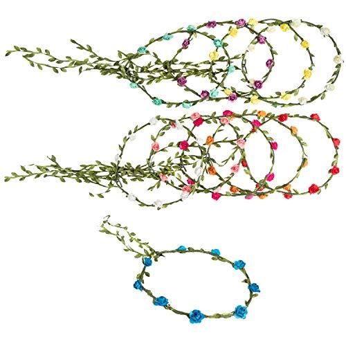 Flower Headbands - 10-Pack Adjustable Floral Wreath Headbands,