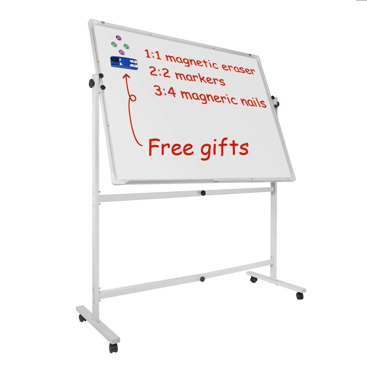 Mobile Magnetic Whiteboard 48W x 36H Silver Frame LUXOR LUXMB4836WW