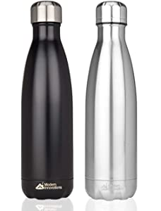 17 oz Stainless Steel Water Bottles Vacuum Insulated Double Walled Leak-Proof Cola Shaped Bottle Keeps Drinks Hot and Cold for Indoor Outdoor Sports | Available in Black, Chrome, Pink, Blue & Copper