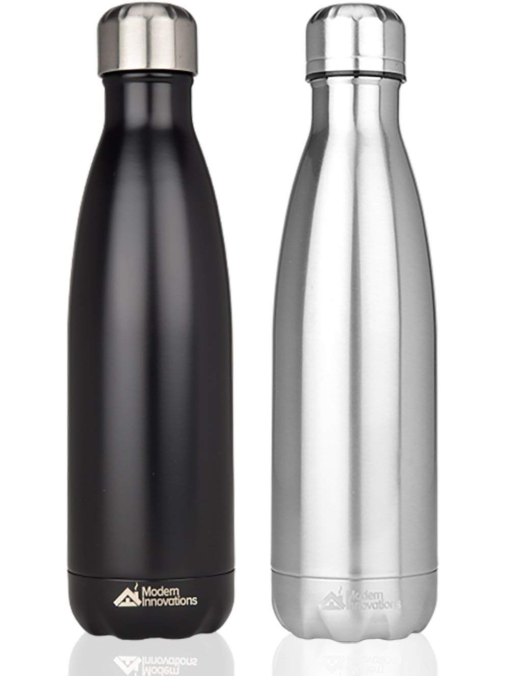 Modern Innovations 17oz Double Wall Vacuum Insulated Stainless Steel Water Bottles Leak Proof Keeps Drinks Hot and Cold for Outdoor Sports Camping Hiking Cycling,Black & Silver,2-Pack by Modern Innovations