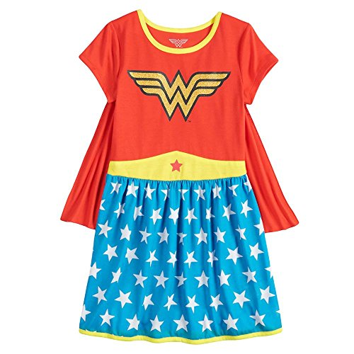 Komar Kids Girl's Wonder Woman Superhero Costume Character Caped Nightgown (6/6X) Red -