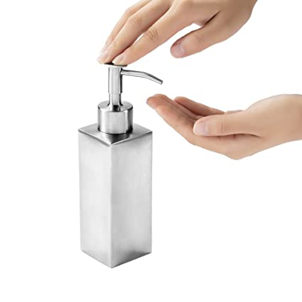 FIFILARY Dispensador de Jabón, Manual Dispensador de Líquidos de Acero Inoxidable para los Countertops del