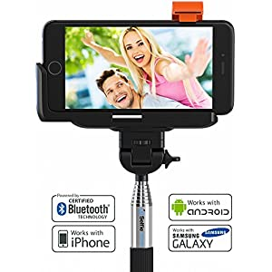 Premium 5-In-1 Bluetooth Selfie Stick For iPhone X, 8, 7, 6, 5, Samsung Galaxy S8, S7, S6, S5 (Android 4.3+) - No Apps, Downloads, Batteries Required