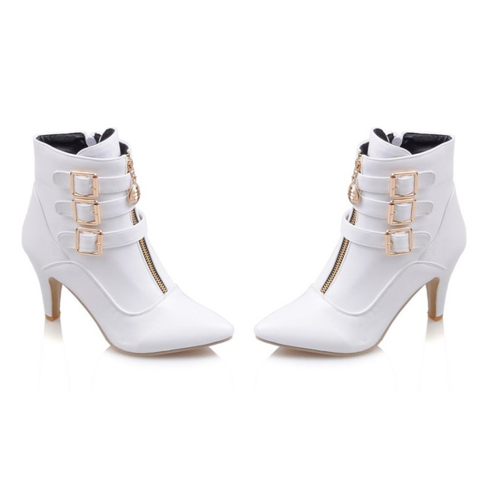 Meotina Women Ankle Boots High Heels Buckle Pointed B(M) Toe Shoes B077NCMFKF 8.5 B(M) Pointed US|White 695d20