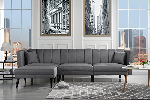 Reclining Sleeper Sectional (Mid Century Modern Style Linen Fabric Sleeper Futon Sofa, Living Room L Shape Sectional Couch with Reclining Backrest (Light Grey))