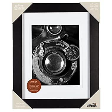 Pinnacle 11-inch-by-14-inch Gallery Solutions Frame, Matted to 8-inch-by-10-inch, Black