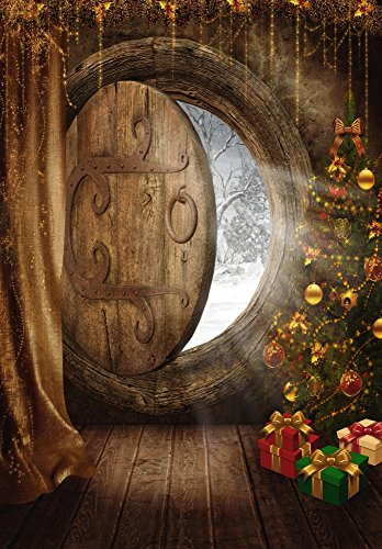 Leyiyi Vintage Wooden Cabin 5x7ft Photography Background Countryside Wood Gate Rural Garden Christmas Decoration Happy New Year Backdrop Christmas Trees Gifts Doorway Frost Snowflake Photo Portrait ()