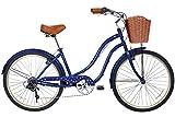 Gama Bikes Womens Boardwalk Step-Thru 6 Speed Shimano Urban Cruiser Commuter Bicycle, 26-inch wheels, Ivory