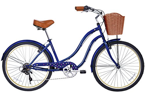 Gama Bikes Women's Boardwalk Step-Thru 6 Speed Shimano Urban Cruiser Commuter Bicycle, 26-inch wheels, Ivory
