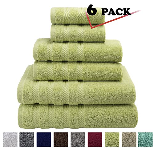 Premium, Luxury Hotel & Spa, 6 Piece Towel Set, Turkish Towels 100% Cotton for Maximum Softness and Absorbency by American Soft Linen, [Worth $72.95] (Pistachio Green)
