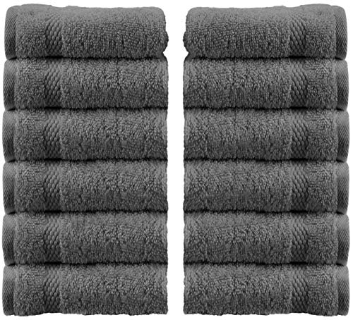 White Classic Luxury Grey Washcloths - Hotel Spa Collection | Circlet Egyptian Cotton | Absorbent Large Bathroom Face Towel | 13x13 Inch | Set of 12 | Gray