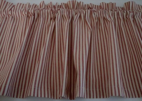 (Valance Red and Cream Ticking Cotton 42