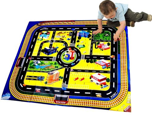 12 Designs Toy Car Park Police Fire Station Garage Building Crane Die Cast Cars Playmat Set (Giant City Playmat) L-FENG-UK