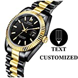 BUREI Men Quartz Watch Personalized Text Customization Wrist Watch Sapphire Lens and Stainless Steel Band Especial High-Grade Gift
